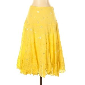 SEARLE Yellow Embellished Casual Skirt